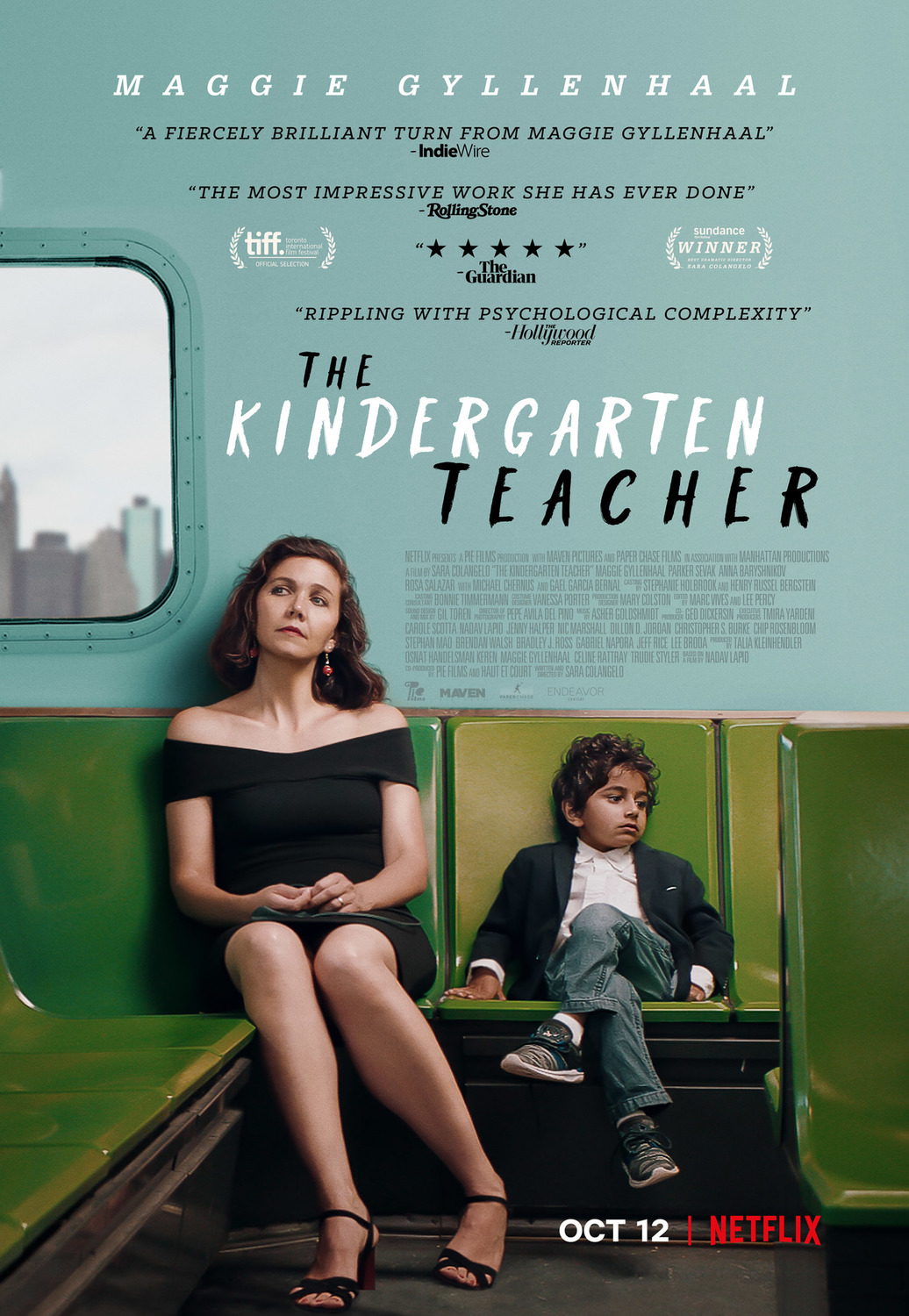 The Kindergarten Teacher movie poster, featuring Maggie Gyllenhaal and Parker Sevak.
