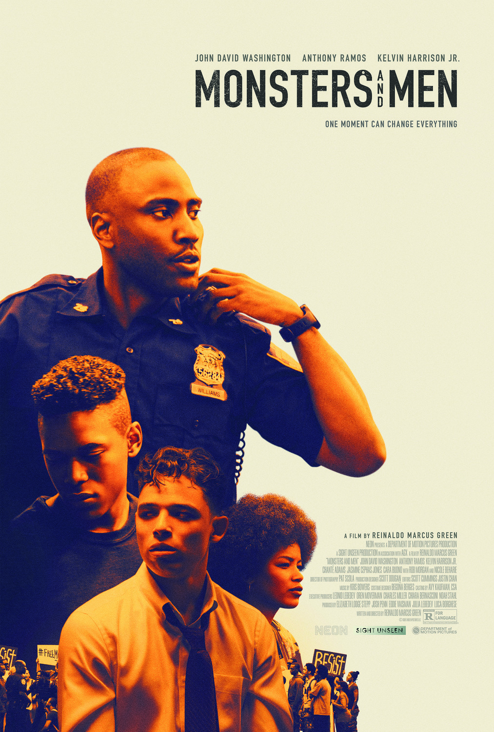 Monsters and Men film poster featuring actors John David Washington, Anthony Ramos and Kelvin Harrison Jr.