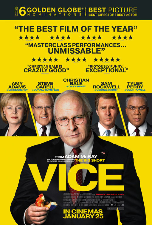 Poster for Vice, featuring Christian Bale, Amy Adams, Steve Carell, Sam Rockwell and Tyler Perry.