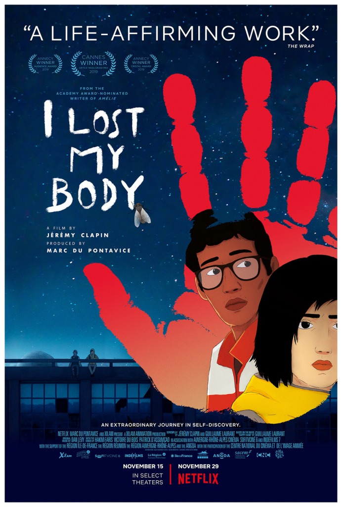 Poster for I Lost My Body featuring characters Nafouel and Gabriell
