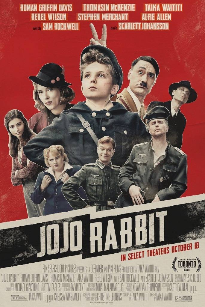 Poster for Jojo Rabbit, featuring Roman Griffin Davies, Taika Waititi, Stephen Merchant, Sam Rockwell, Alfie Allen