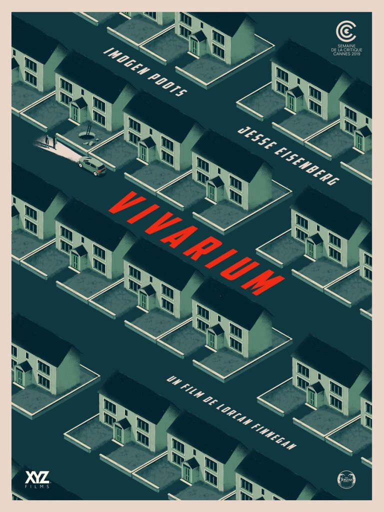 Poster for Vivarium, showing an illustrated birds-eye view of a neighbourhood full of identical houses. A car is parked in front of one house, and two people stand in the glare of its headlights.