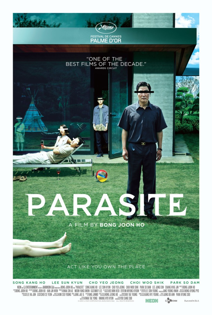 Poster for Parasite, featuring Kang-ho Song, Woo-sik Choi, Yeo-jeong Jo, Sun-kyun Lee and Hyun-jun Jung.